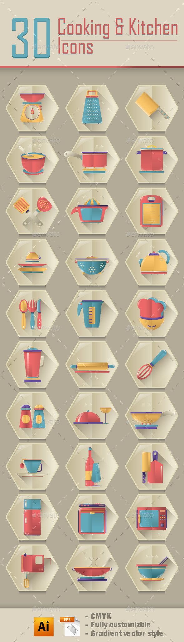 GraphicRiver Cooking & Kitchen Icons 9731206