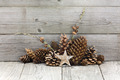 Winter holiday decoration with star and cones - PhotoDune Item for Sale