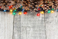 Christmas decoration with lights and cones - PhotoDune Item for Sale