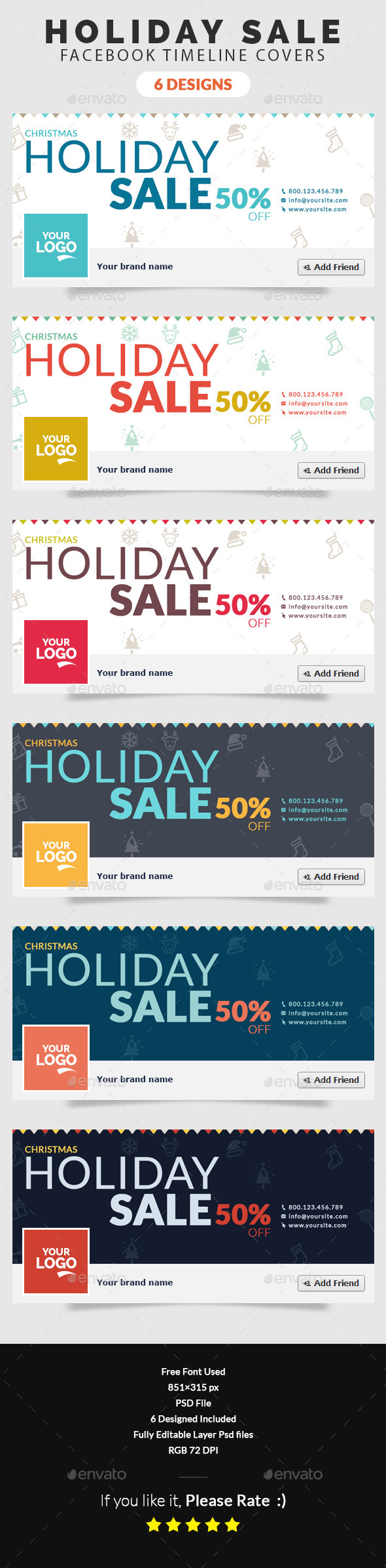 GraphicRiver Christmas Holiday Sale Facebook Timeline Cover 9731619