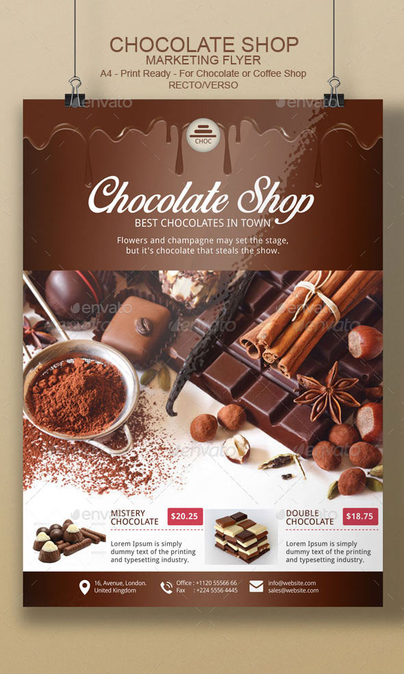 Chocolate Flyer Template By Blogankids Graphicriver