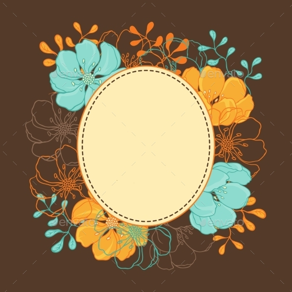 GraphicRiver Background with Hand Drawn Stylish Flowers 9734967