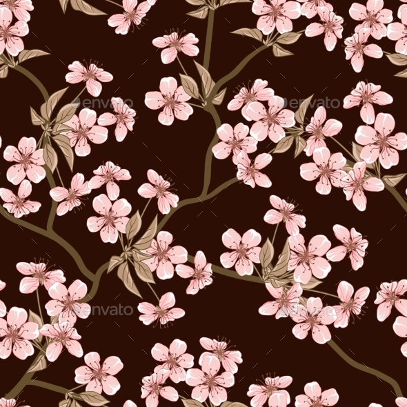 GraphicRiver Cherry Blossom Seamless Pattern 9735086