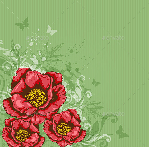 GraphicRiver Green Background with Red Flowers 9735588