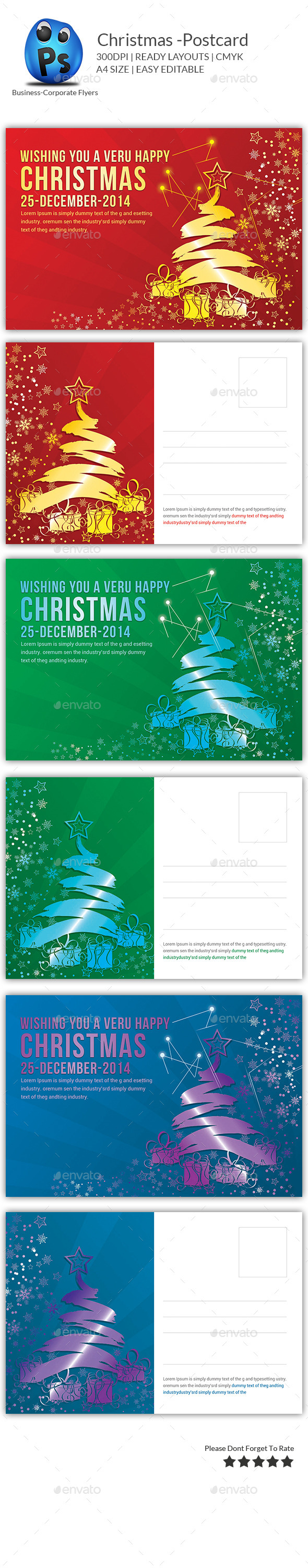 GraphicRiver Christmas Postcard Templates 9735739