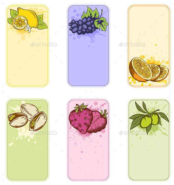 GraphicRiver Vintage Labels with Fruits and Berries 9735752