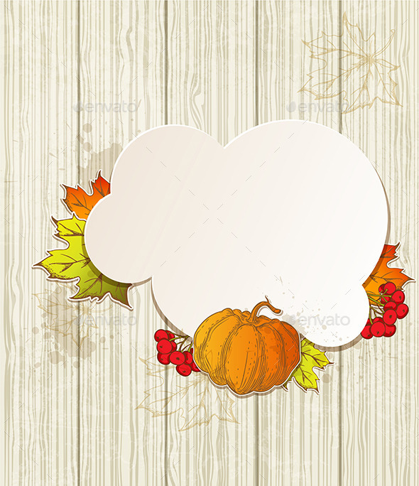 GraphicRiver Background with Pumpkin and Leaves 9735795