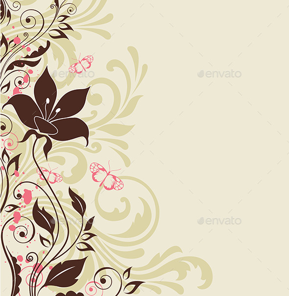 GraphicRiver Decorative Background with Flowers 9735812