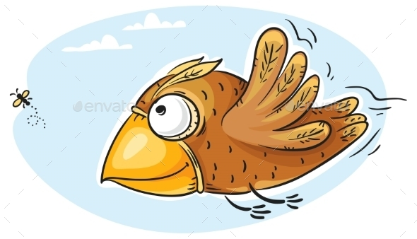 GraphicRiver Bird Catching Fly 9735964
