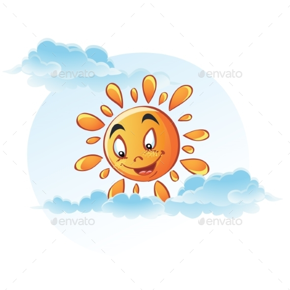 GraphicRiver Cartoon Image of Sun in the Clouds 9736179
