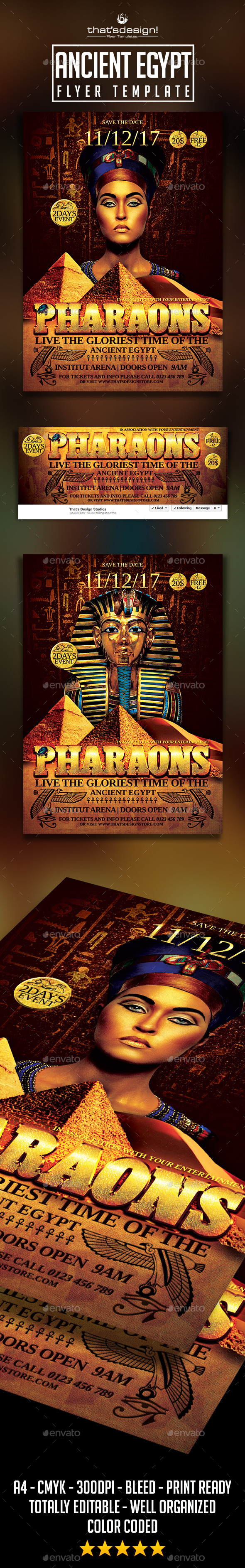 GraphicRiver Ancient Egypt Event Flyer Template 9736849