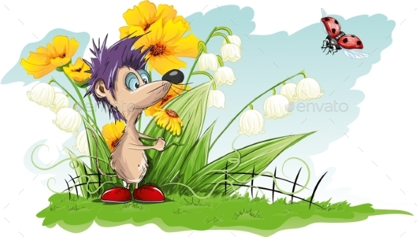 GraphicRiver Mouse with a Flower 9737940