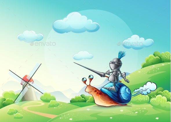 GraphicRiver Knight Attacking the Mill 9738229