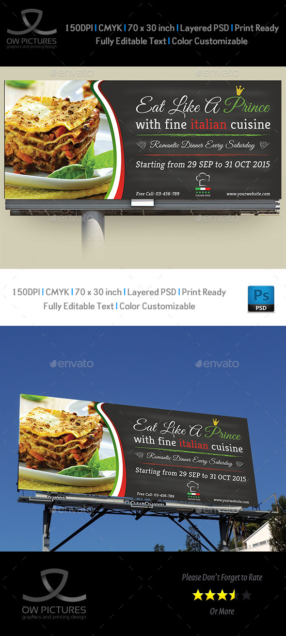 GraphicRiver Italian Restaurant Billboard Template 9738256