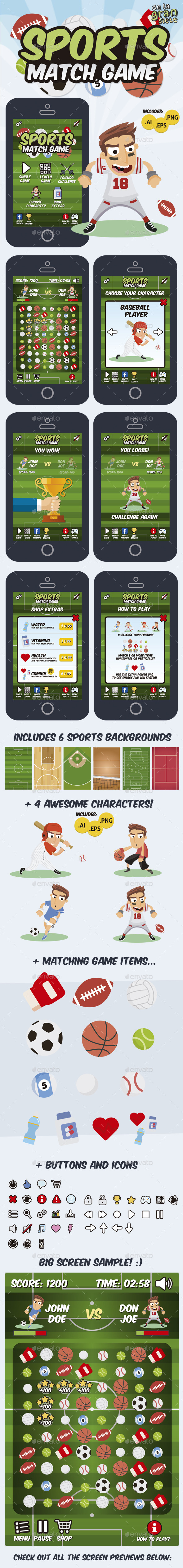 GraphicRiver Sports Match 3 Game Assets 9738479