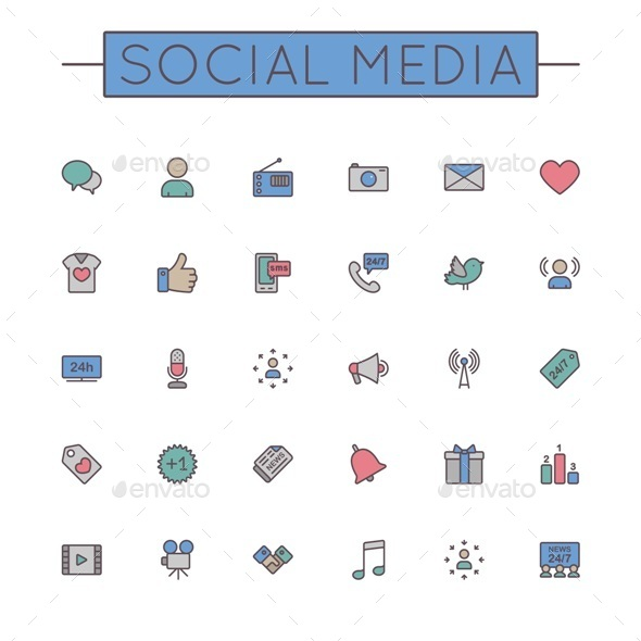 GraphicRiver Colored Social Media Line Icons 9738808