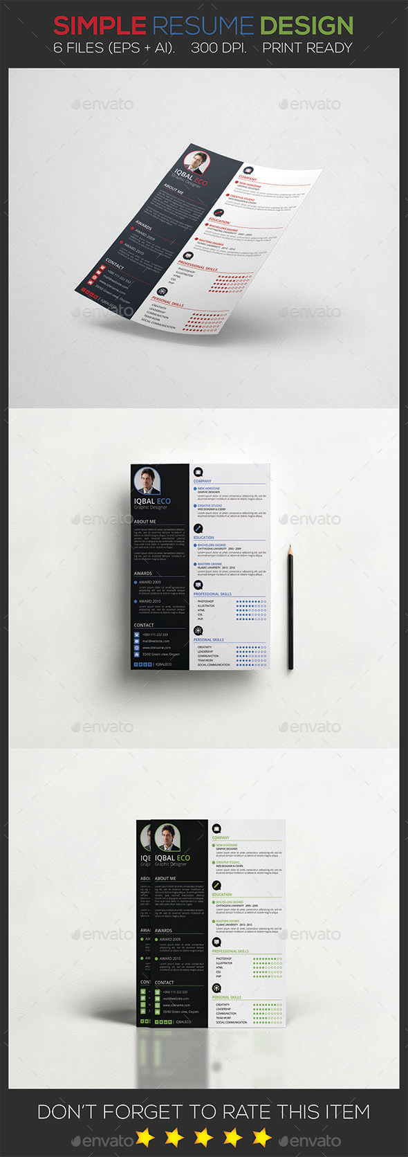 GraphicRiver Simple Resume Design 9739313