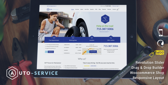 ThemeForest Auto Car Repair Mechanic Shop Responsive Theme 9739323