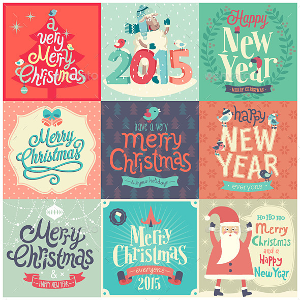 GraphicRiver Christmas Set of Labels and Emblems 9739650