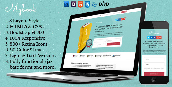 ThemeForest Mybook Bootstrap Responsive eBook Landing Page 9739683