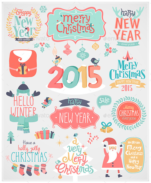 GraphicRiver Christmas Set of Labels and Emblems 9740175