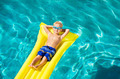 Boy Relaxing and Having Fun in Swimming Pool on Yellow Raft - PhotoDune Item for Sale