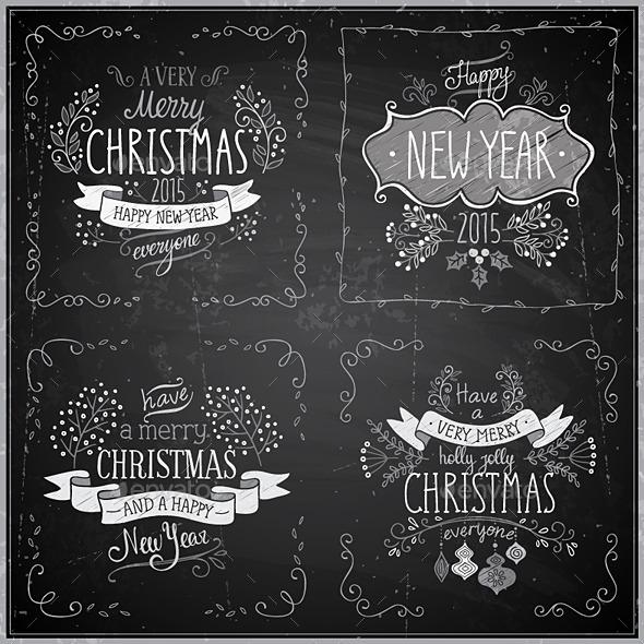 GraphicRiver Christmas Hand Drawn Card Set 9740714