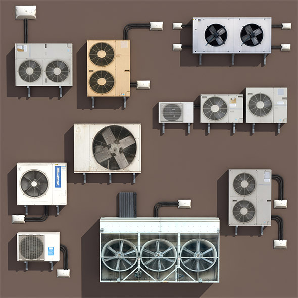 3DOcean Air conditioning PACK Low Poly 3D Modle 9740880