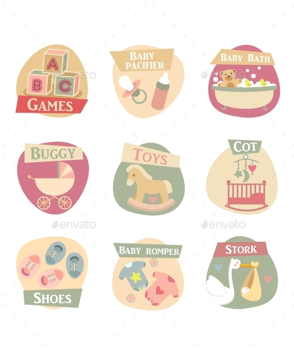 GraphicRiver Baby Life Flat Icons 9740918