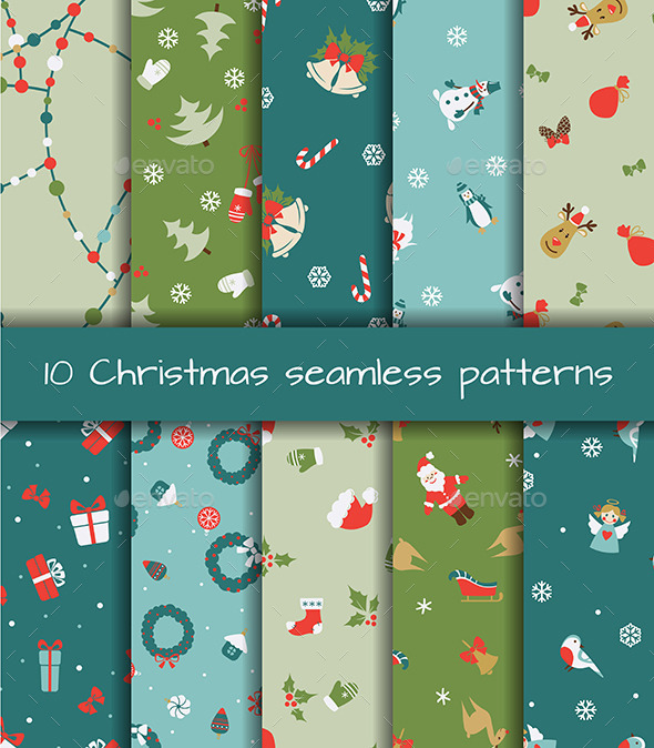 GraphicRiver Set of Ten Christmas Seamless Patterns 9741010