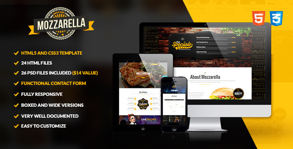 ThemeForest Mozzarella HTML5 and CSS3 Cafe Bar Template 9741023