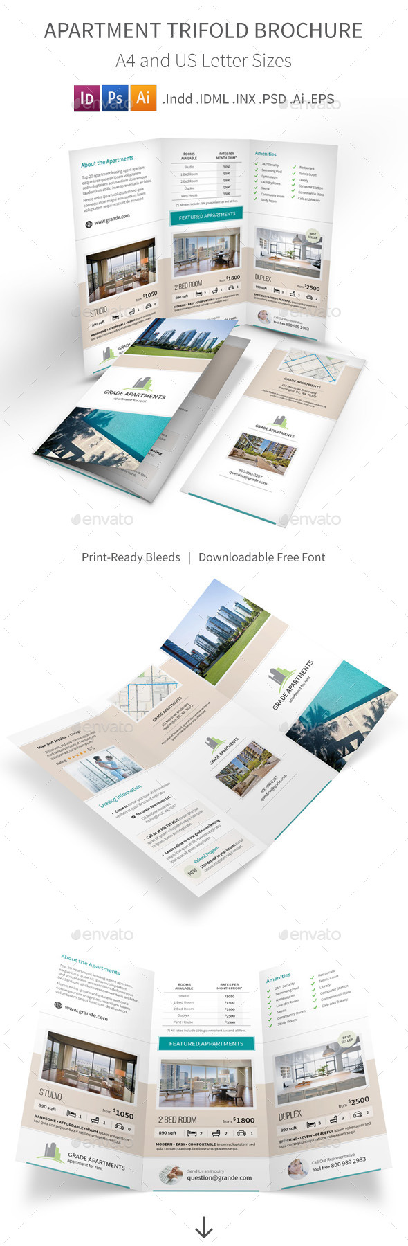 GraphicRiver Apartment Real Estate Trifold Brochure 9741042