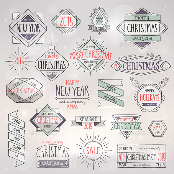 GraphicRiver Christmas Hand Drawn Emblems Set 9741081