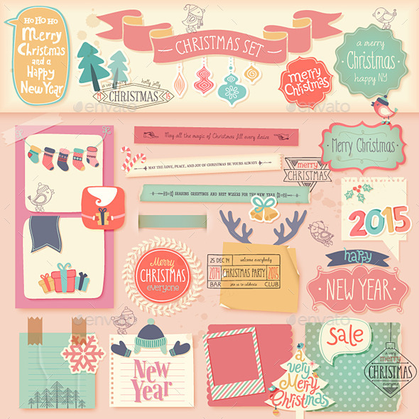 GraphicRiver Christmas Scrapbook Set 9741290