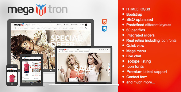 ThemeForest Megatron Responsive HTML shopping theme 9741530