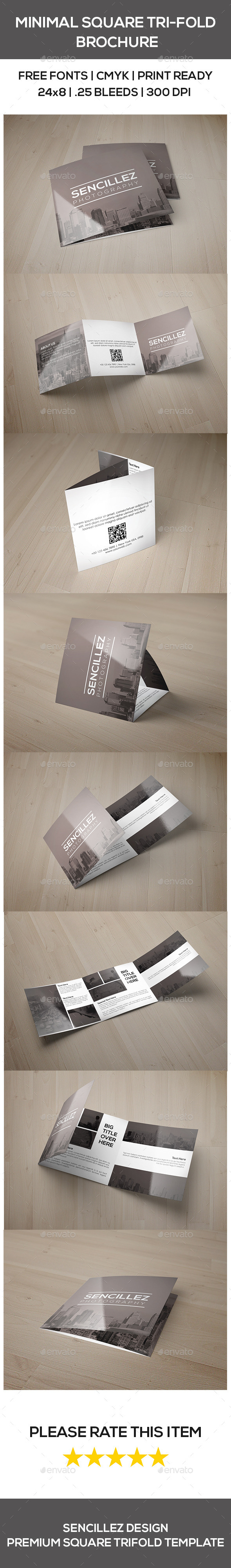 GraphicRiver Minimal Square Tri-Fold Photography Brochure 9741617