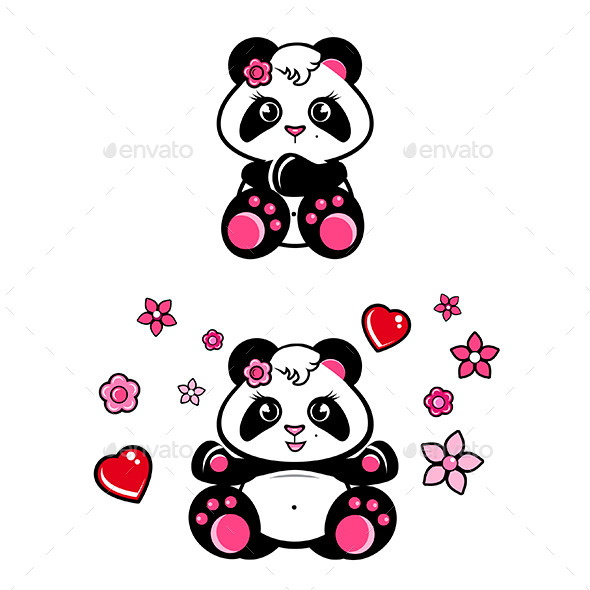 GraphicRiver Baby Panda Girls Set 9741734