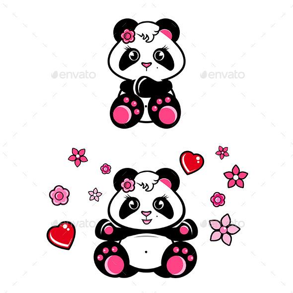 GraphicRiver Baby Panda Girls Set 9741734