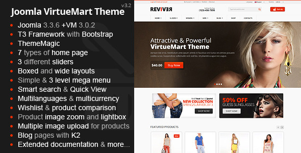 Reviver Responsive Multipurpose VirtueMart Theme