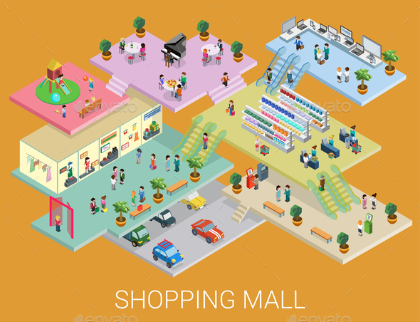 GraphicRiver Isometric Shopping Mall Concept 9741783