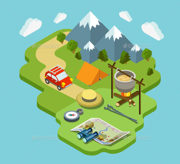 GraphicRiver Outdoor Active Vacation Isometric Design 9741786