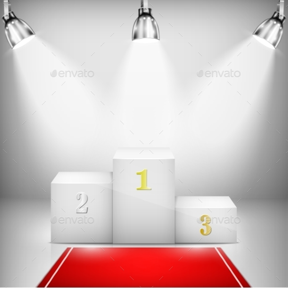 GraphicRiver Illuminated Winner Pedestal with Red Carpet 9741969