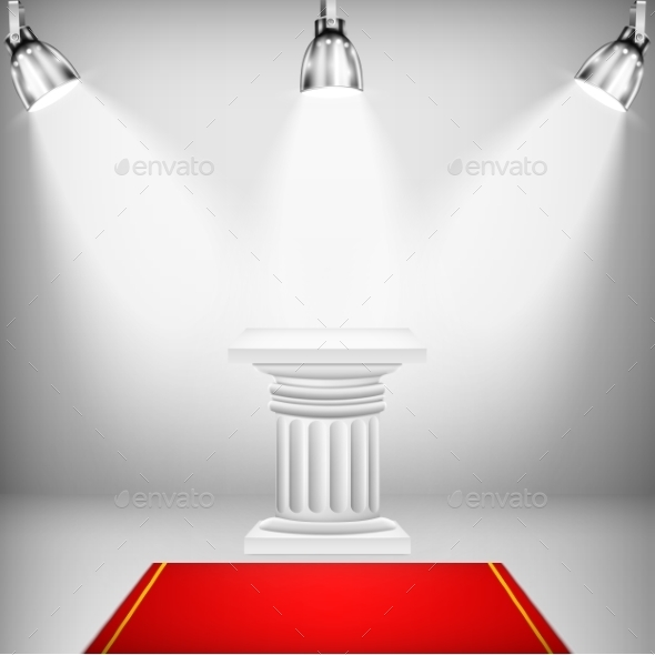 GraphicRiver Illuminated Ionic Column with Red Carpet 9741970