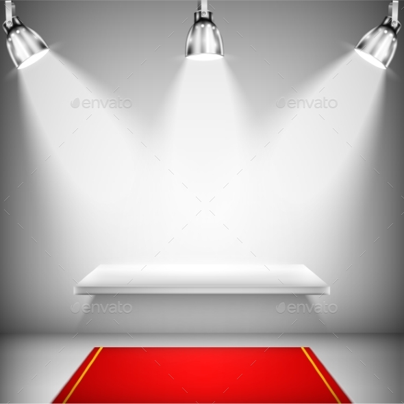 Illuminated Shelf with Red Carpet