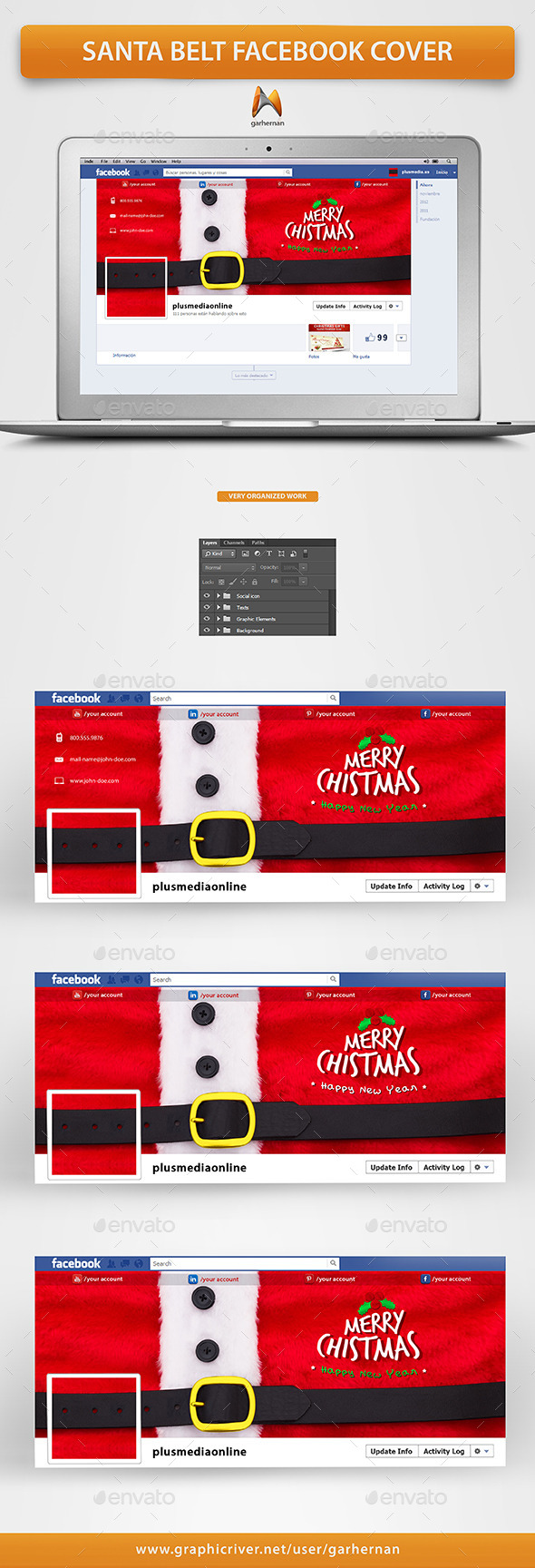 GraphicRiver Santa Claus Belt Facebook Cover 9742359