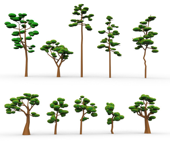 3DOcean 10 Low Poly Cartoon Tree 9742396