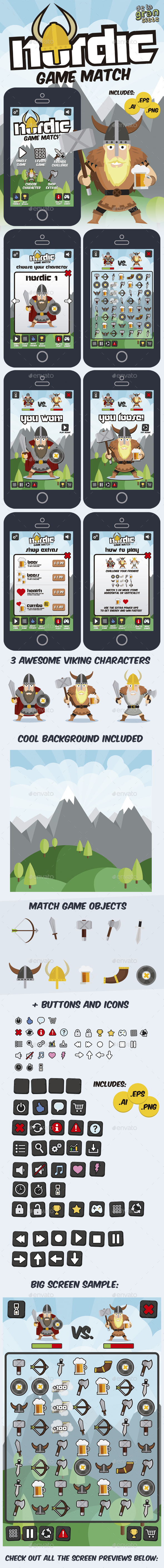 GraphicRiver Nordic Vikings Match 3 Game Style Assets 9742398