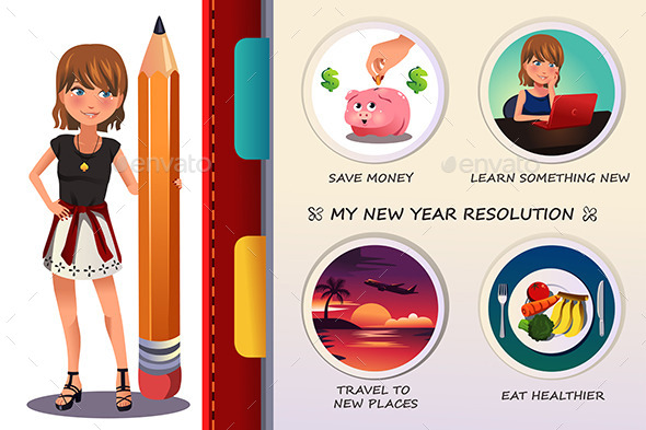 GraphicRiver Woman Writing About Her New Year Resolution 9742454