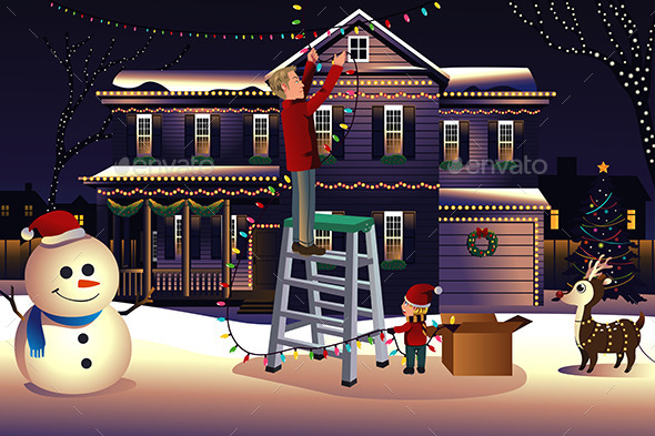 GraphicRiver Father and Son Putting Lights on the House 9742505