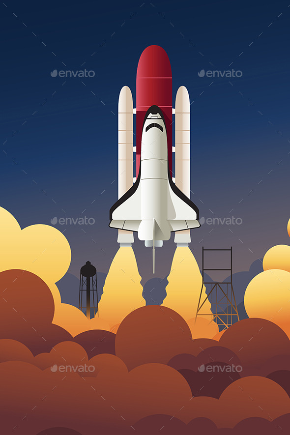 GraphicRiver Rocket Launching into Space 9742527